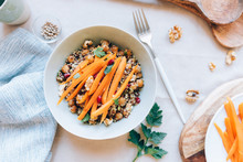 Quinoa With Chickpeas, Leeks And Spicy Roasted Carrots