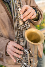 Music Man Performing On Sax.