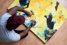 Artist Painting Abstract Canva...
