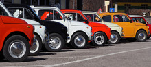 A Row Of Colorful Vintage Fia...