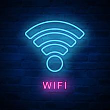Vector Illuminated Neon Light Icon Sign Wifi Internet