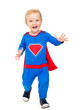 canvas print picture Baby Super Hero, Kid Boy in Super Man Costume, Happy Child on White background