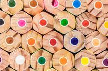 Pile Of Coloured Pencils Closeup