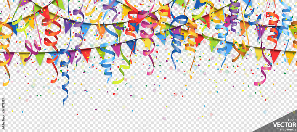 Fototapeta confetti, garlands and streamers party background