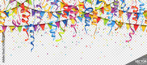 confetti, garlands and streamers party background