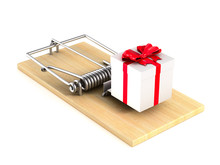 Mousetrap And Gift Box On White Background. Isolated 3D Illustration