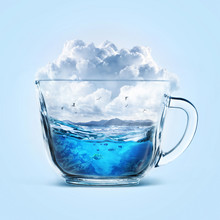 Ocean Or Sea In Cup With Clouds And Fly Birds On A Blue Background