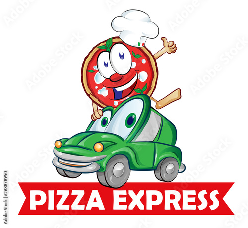Foto op Canvas Cars Pizza express delivery car cartoon