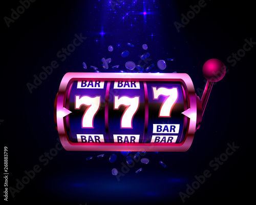 Neon slot machine wins the jackpot bar
