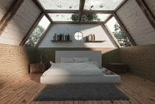 3d Rendering Of Wooden Bedroom...
