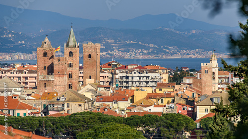 The Towers of the old town of Albenga Wallpaper Mural