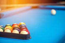 Pool Or Billiards Balls On Lig...