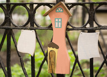 Wooden Figure Of House And Few Blank Wooden Signs