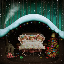 Fantasy Winter Holiday Greeting Card With Sleeping Mouse Family In Mouse Hole.