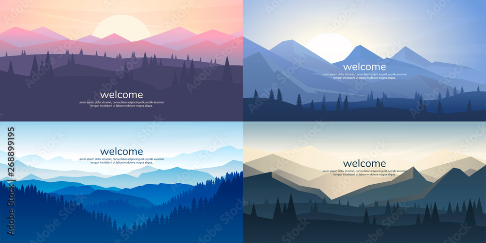 Fototapeta A set of mountain vector landscapes in a flat style. Natural wallpapers are a minimalist, polygonal concept. Sunrise, misty terrain with slopes, mountains near the forest