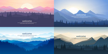 A Set Of Mountain Vector Landscapes In A Flat Style. Natural Wallpapers Are A Minimalist, Polygonal Concept. Sunrise, Misty Terrain With Slopes, Mountains Near The Forest