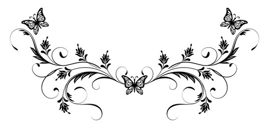 Vintage floral ornament and butterflies for greeting card