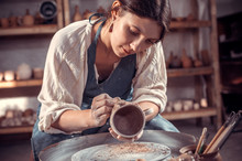 Stylish Artisan Making Pottery, Sculptor From Wet Clay On Wheel. Craft Manufacture.