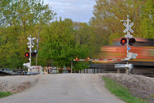 Freight Train Blurred  In Moti...