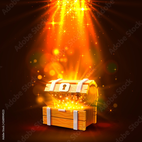 Open chest with gold, the bright background. Fototapeta