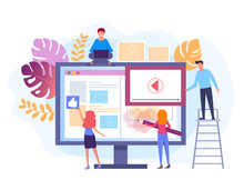 People Characters Working At Web Site Project. Web Development Concept. Vector Flat Graphic Design Isolated Illustration
