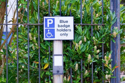 Valokuva  Blue badge holders only sign