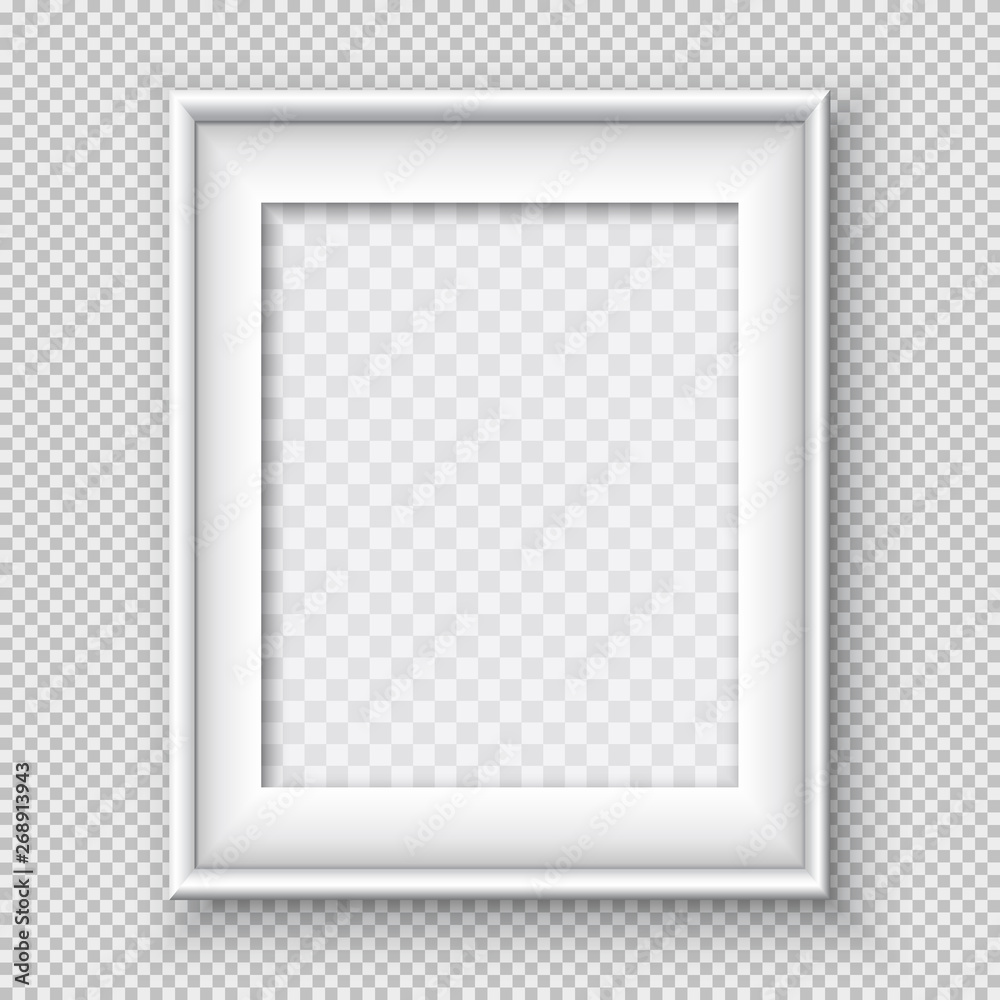 Fototapeta White rectangular paper or plastic frame with soft shadow for text or picture is on squared black background