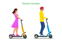 Electric Scooter On The Road. Electric Scooter Transportation You Can Rent For A Quick Ride.