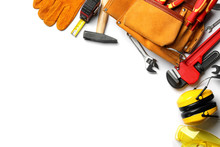 Composition With Different Construction Tools On White Background, Top View. Space For Text