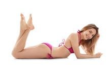 Young Slim Woman In Bikini On White Background. Perfect Body