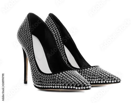 Fototapeta Stylish high heel shoes on white background