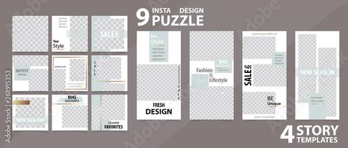 Fototapeta Trendy editable template for social networks stories and posts, vector illustration. obraz