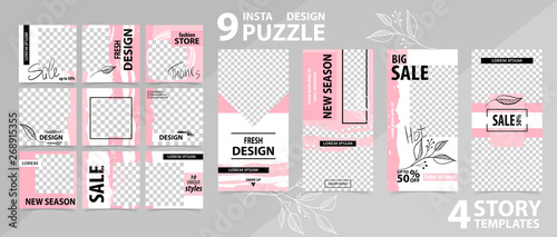 Fotografia  Trendy editable template for social networks stories and posts, vector illustration