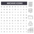 Archive line icons, signs, vector set, outline illustration concept