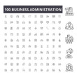 Business administration line icons, signs, vector set, outline concept illustration