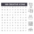 Creative line icons, signs, vector set, outline concept illustration