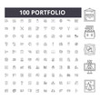 Portfolio line icons, signs, vector set, outline concept illustration