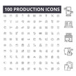 Production line icons, signs, vector set, outline concept illustration