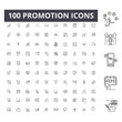 Promotion line icons, signs, vector set, outline illustration concept