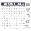 Publishing line icons, signs, vector set, outline concept illustration