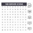 Server icons line icons, signs, vector set, outline concept illustration