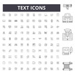 Text line icons, signs, vector set, outline concept illustration