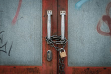 Closed Door Locked With Chain And Padlock - Vintage Gate -