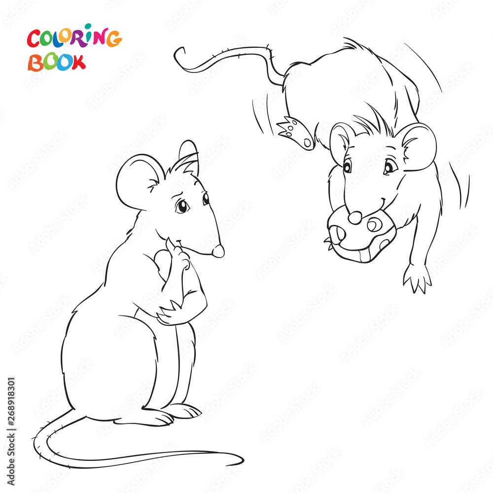 Fototapety, obrazy: Vector Coloring Book with two rats. Rat with chees.