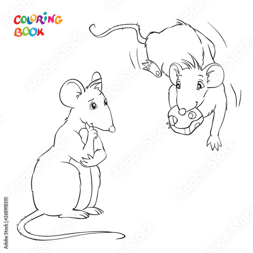 Vector Coloring Book with two rats. Rat with chees.