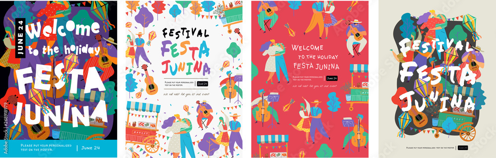 Fototapeta Festa Junina, Vector illustrations for poster, abstract banner, background or card for the brazilian holiday, festival, party and event, drawings of dancing cheerful people, musicians and shops
