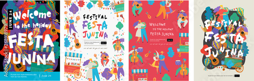 Festa Junina, Vector illustrations for poster, abstract banner, background or card for the brazilian holiday, festival, party and event, drawings of dancing cheerful people, musicians and shops - 268918979