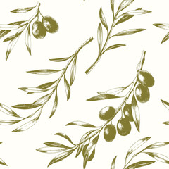 Panel Szklany Podświetlane Do restauracji Seamless pattern with olive branches. Elegant vector background.