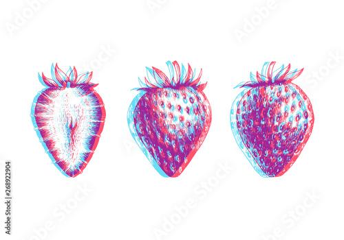 Photo Hand drawn illustration of strawberry isolated on white background