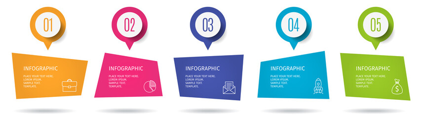Banner 5 steps business infographic template with step up options. Template for presentation, chart, graph. Vector illustration.